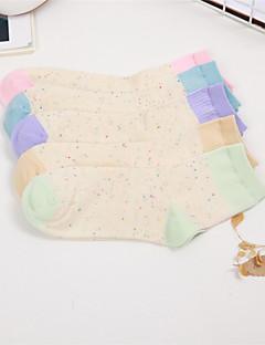 billige Moteundertøy-Dame Sokker Normal Fargeblokk Jacquardvevnad Bomull Polyester,5 Regnbue