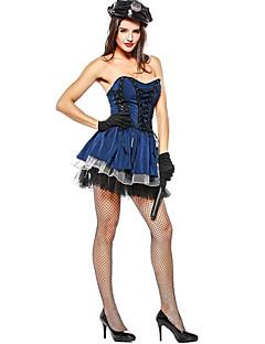 billige Halloweenkostymer-Politi Cosplay Kostumer hatt Kvinnelig Halloween Karneval Festival / høytid Halloween-kostymer Blå Fargeblokk