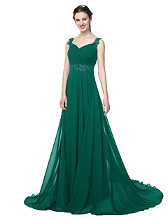 cheap Long Bridesmaid Dresses-A-Line Straps Floor Length Chiffon Bridesmaid Dress with Beading Appliques Pleats by LAN TING BRIDE®