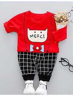billige Tøjsæt til drenge-Børne Tøjsæt Daglig Ensfarvet Dyretryk, Polyester Forår Rød Beige