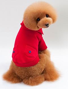 billiga Hundkläder-Katt Hund T-shirt Tröja Huvtröjor Hundkläder Enfärgad Grå Röd Blå Bomullstyg Kostym För husdjur Herr Dam Stilig Håller värmen