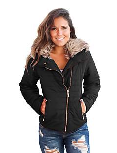 お買い得  レディースブレザー&ジャケット-女性用 日常 祝日 冬 ショート ジャケット, シンプル シャツカラー ソリッド ポリエステル スパンデックス ファートリム