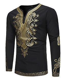 cheap Men's Tees & Tank Tops-Men's Vintage / Basic Slim T-shirt - Tribal Print V Neck / Long Sleeve