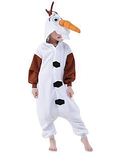 billige Kigurumi-Kigurumi-pysjamas Snømann Anime Onesie-pysjamas Kostume Polar Fleece Hvit Cosplay Til Barne Pysjamas med dyremotiv Tegnefilm Halloween