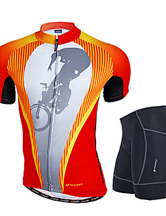 cheap Cycling Jersey & Shorts / Pants Sets-Nuckily Men's Short Sleeves Cycling Jersey with Shorts - Orange Geometic Bike Clothing Suits, Anatomic Design, Breathable, Reflective