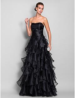 A-라인 스윗하트 바닥 길이 오간자 프롬 포멀 이브닝 밀리터리 볼 드레스 와 루시 주름 장식 캐스케이드 주름장식 으로 TS Couture®