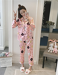 billige Moteundertøy-Dame Dress Pyjamas Medium Rayon Blå Rosa