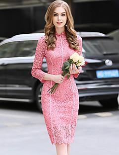 お買い得  レディースドレス-女性用 ボディコン シース ドレス - レース, 純色