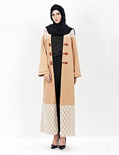 baratos Costumes étnicas e Cultural-Vestido árabe Abaya Vestido Kaftan Mulheres Fashion Festival / Celebração Roupa Rosa claro Rendas