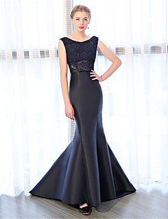 cheap Special Occasion Dresses-Mermaid / Trumpet Bateau Court Train Lace Over Satin Satin Chiffon Formal Evening Dress with Lace by LAN TING Express