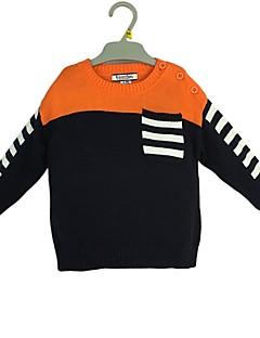 billige Sweaters og cardigans til drenge-Drenge Trøje og cardigan Farveblok, Bomuld Vinter Efterår Langærmet Simple Orange
