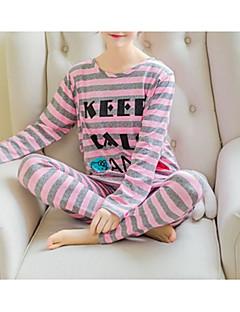 billige Moteundertøy-Dame Rund hals Dress Pyjamas - Stripet