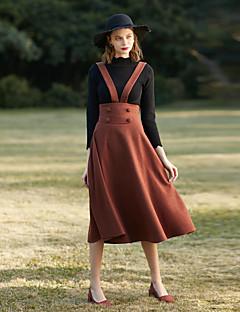 お買い得  レディーススカート-女性用 ヴィンテージ Aライン スカート - ソリッド
