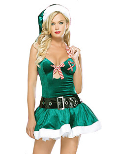 billige julen Kostymer-Nisse drakter Julkjole / Julehue Jul / Halloween Festival / høytid Halloween-kostymer Grønn Jul Halloween / Jul