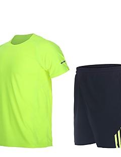 billige Løbetøj-Herre Løbende skjorte med shorts - Blå, Skovgrøn, Grå Sport Stribe Shorts Fitness, Træningscenter, Træning Kortærmet Sportstøj Hurtigtørrende, Åndbart, Svedreducerende