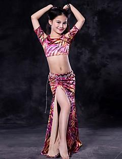 tanie Dziecięca odzież do tańca-Taniec brzucha Outfits Wydajność Spandeks Wzorek / Nadruk Z krótkim rękawem Wypada Spódnice Top