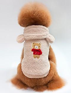 billiga Hundkläder-Katt Hund T-shirt Tröja Huvtröjor Hundkläder Björn Beige Purpur Kaffe Röd Blå Polär Ull Kostym För husdjur Herr Dam Djur Stilig Håller