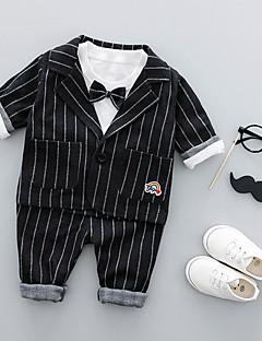 tanie Odzież dla chłopców-Garnitur / marynarka Bawełna Dla dzieci Prążki Wiosna Długi rękaw Niebieski Black Gray