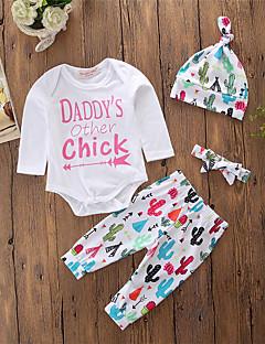 billige Sett med babyklær-Baby Unisex Tøjsæt Daglig I-byen-tøj Geometrisk, Bomuld Polyester Forår Efterår Langærmet Simple Afslappet Hvid