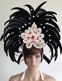 billige Halloweenkostymer-Karneval Hatter / Samba Headdress Grønn / Blå / Fuksia Fjær Cosplay-tilbehør Karneval / Maskerade