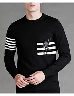 tanie Męskie swetry i swetry rozpinane-Męskie Na co dzień Okrągły dekolt Pulower - Nadruk Długi rękaw