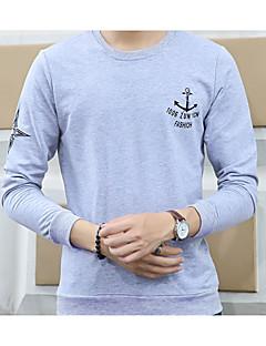 billige Hættetrøjer og sweatshirts til herrer-Herre Langærmet Rund hals Hættetrøjer og trøjer - Ensfarvet, Trykt mønster