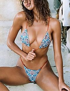 billige Bikinier og damemote 2017-Dame Flerfarget Bikini Badetøy Sexy Bandeau Blå