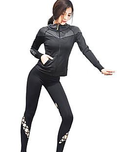 billiga Träning-, jogging- och yogakläder-Dam Ihålig Sportskläder Set - Svart sporter Överdelar Löpning Långärmad Sportkläder Snabb tork, Mateial som andas, Supertunn Hög