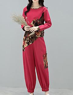 お買い得  レディースツーピースセット-女性用 ボヘミアン コットン Tシャツ - プリント パンツ