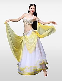 Χαμηλού Κόστους Χορός της κοιλιάς-Χορός της κοιλιάς Σύνολα Γυναικεία Επίδοση Βαμβάκι Πολυεστέρας Χάντρες Πέταλα Παγιέτες Κρύσταλλοι / Στρας Αμάνικο Χαμηλή Μέση Φούστες