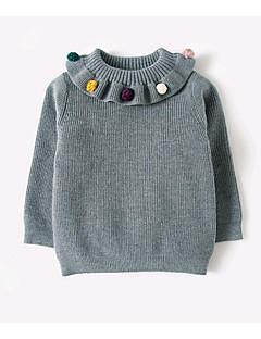 billige Sweaters og cardigans til piger-Pige Trøje og cardigan Ensfarvet, Bomuld Forår Langærmet Lyserød Grå