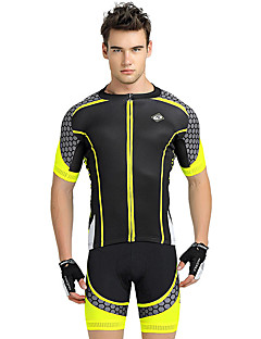 cheap Cycling Jersey & Shorts / Pants Sets-Nuckily Men's Short Sleeves Cycling Jersey with Shorts - Yellow Geometic Bike Shorts Jersey Clothing Suits, Ultraviolet Resistant,