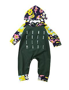 billige Jenteklær-Jente Daglig Bluse Blomstret Trykt mønster Bomull Nylon Alle årstider Vår Langt Erme Søtt Aktiv Militærgrønn