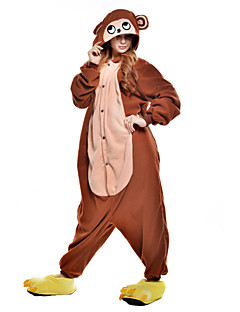 billige Kigurumi-Kigurumi-pysjamas Ape Onesie-pysjamas Kostume Polar Fleece Syntetisk Fiber Brun Cosplay Til Pysjamas med dyremotiv Tegnefilm Halloween