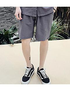 billige Herrebukser og -shorts-Herre Vintage Bomull Shorts Bukser - Ensfarget Svart / Sommer