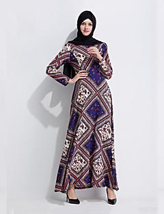 baratos Costumes étnicas e Cultural-Vestido árabe Abaya Vestido Kaftan Jalabiya Mulheres Fashion Festival / Celebração Roupa Azul Estampado