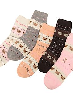 billige Sokker og strømper til damer-Dame Normal Strømper Normal Stripet Geometrisk Dyremønster Bomull Polyester,5 Regnbue
