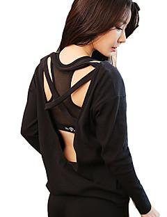 זול -בגדי ריקוד נשים פתוח בגב טישרט לריצה - לבן, שחור, פוקסיה ספורט צמרות יוגה, כושר גופני, ג'וגינג שרוול ארוך מידות גדולות לבוש אקטיבי עמיד, ייבוש מהיר, נשימה גמישות גבוהה