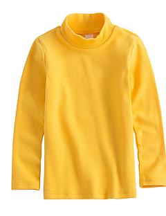 billige Pigetoppe-Pige T-shirt Ensfarvet, Bomuld Forår Langærmet Simple Beige Navyblå Gul Rosa Vin