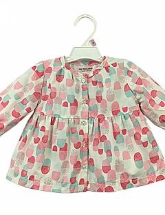 hesapli Bebek Üstleri-Bebek Genç Kız Günlük Pamuklu Çiçekli Uzun Kollu Gömlek Sevimli Günlük Gökküşağı