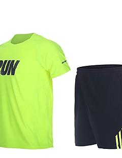 billiga Träning-, jogging- och yogakläder-Herr T-shirt och shorts till jogging - Svart, Forest Grön sporter Shorts Löpning Kortärmad Torkar snabbt