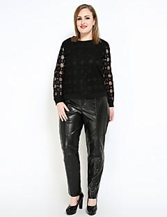 billige Bukser-Dame Vintage Gatemote Store størrelser Rett Chinos Bukser Ensfarget