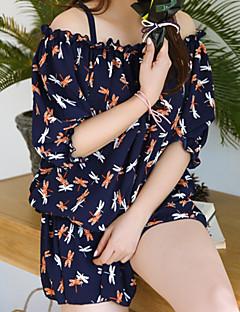 billige Bikinier og damemote 2017-Dame En del Badetøy Sexy Trykt mønster Med stropper Navyblå Marineblå