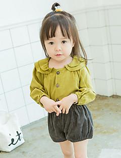 billige Babytøj-Baby Pige Skjorte Ensfarvet Langærmet Normal Grøn Hvid Lysebrun