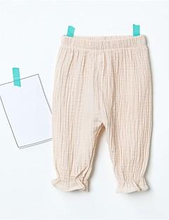 billige Bukser og leggings til piger-Pige Bukser Ensfarvet, Bomuld Sommer Grøn Lyserød Beige Vin Lyseblå