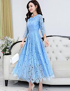 cheap Women's Dresses-Women's Boho Sheath Swing Dress - Solid, Lace Maxi V Neck