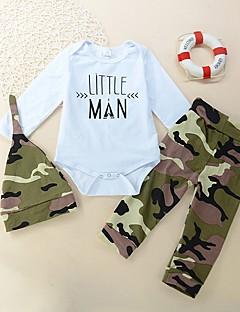 billige Tøjsæt til drenge-Drenge Tøjsæt Daglig Trykt mønster, Bomuld Forår Alle årstider Langærmet Afslappet Aktiv Army Grøn