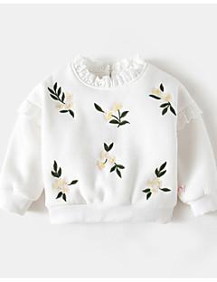 billige Hættetrøjer og sweatshirts til piger-Pige Hættetrøje og sweatshirt Polyester Forår Langærmet Simple Hvid Lilla