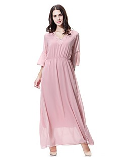 cheap Maternity Dresses-Women's Daily Going out Cute Casual Lace Chiffon Swing Dress,Solid Jacquard Round Neck Midi Half Sleeve Polyester Spring Summer Mid Rise