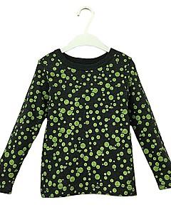billige Hættetrøjer og sweatshirts til piger-Pige Hættetrøje og sweatshirt Bomuld Forår Efterår Langærmet Aktiv Army Grøn